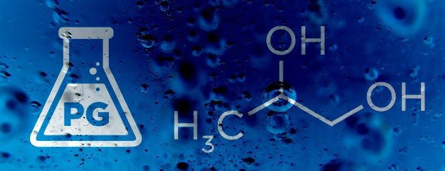 Bottle of PG with chemical formula on blue background.